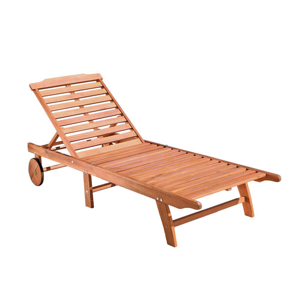 Single Outdoor Wood Chaise Lounge, image 1