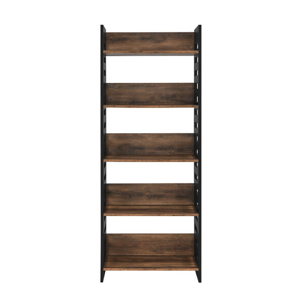 Howard Reclaimed Barnwood and Solid Black Five Self Bookcase, image 1