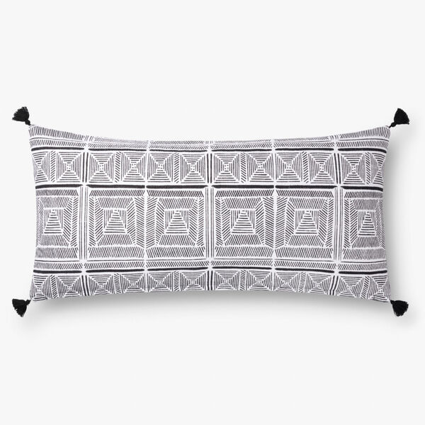 Black with White 12 In. x 27 In. Throw Pillow Cover with Down, image 1
