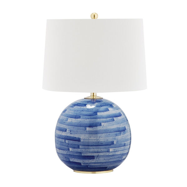 Laurel Aged Brass and Blue One-Light Accent Table Lamp, image 1