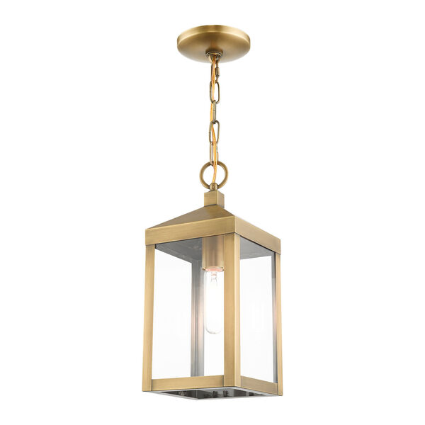 Nyack Antique Brass One-Light Outdoor Pendant Lantern, image 6