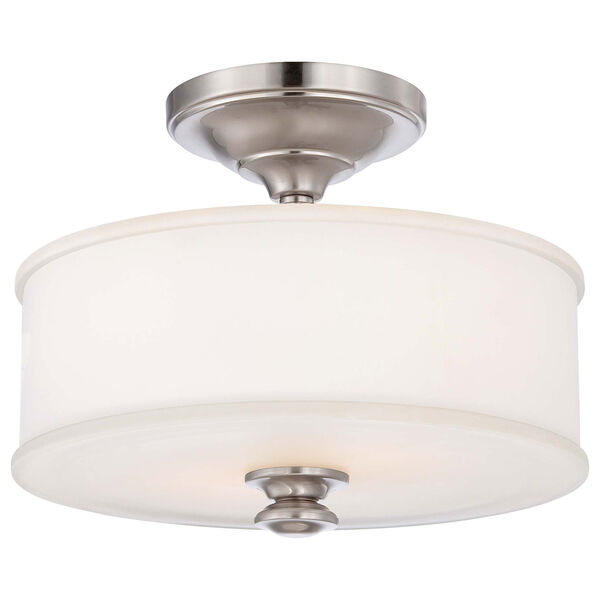 Harbour Point Brushed Nickel Two Light Semi-Flush Mount, image 1