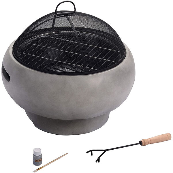 Light Grey Outdoor 21-Inch Round Concrete Wood Burning Fire Pit, image 5