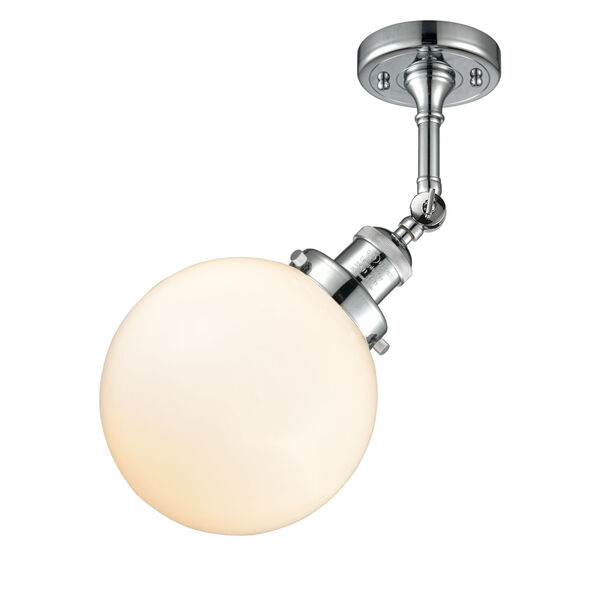 Franklin Restoration Polished Chrome Eight-Inch LED Wall Sconce with Matte White Glass Shade, image 4