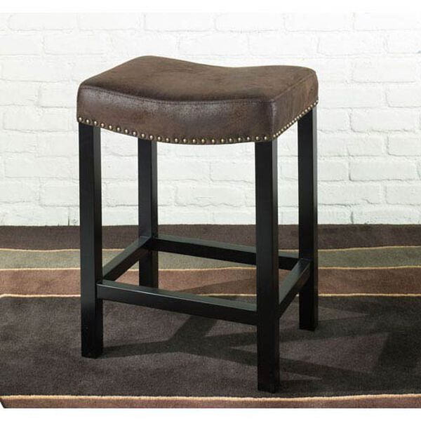 Tudor Backless 26-Inch Stationary Barstool Covered in a Wrangler Brown Fabric w/ Nailhead Accents, image 1