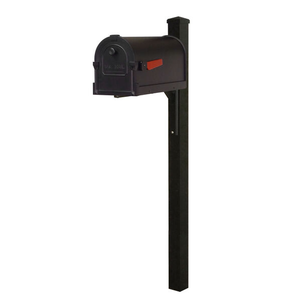 Savannah Curbside Black Mailbox and Wellington Direct Burial Mailbox Post Smooth, image 1