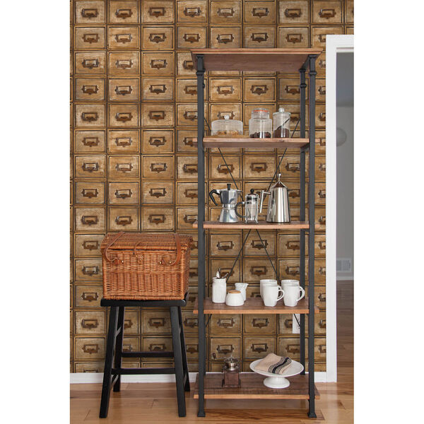 NextWall Library Card Catalog Peel and Stick Wallpaper, image 3