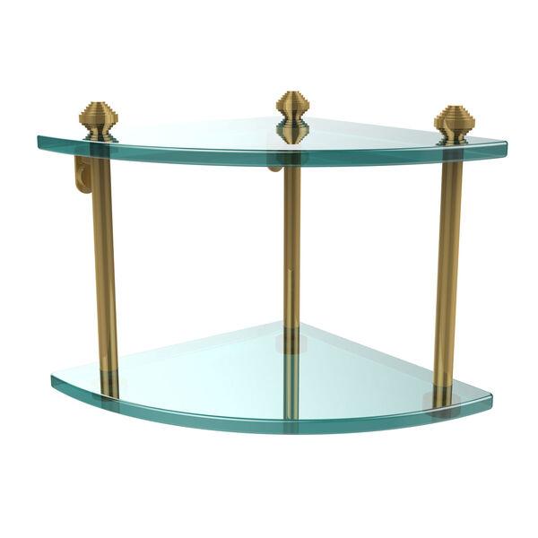 Southbeach Polished Brass Double Corner Glass Shelf, image 1