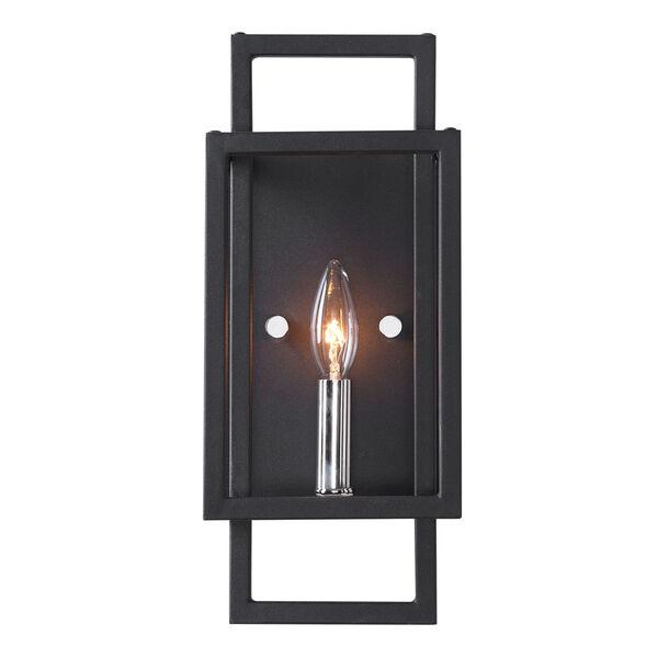 Quadrangle Black and Polished Nickel One-Light Wall Sconce, image 1