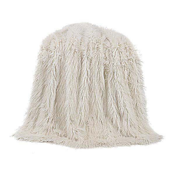 Mongolian White Faux Lamb Fur Throw, image 1