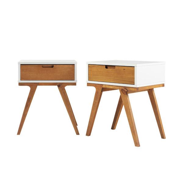 Mateo White and Caramel Beidge-Leg Side Table, Set of Two, image 3