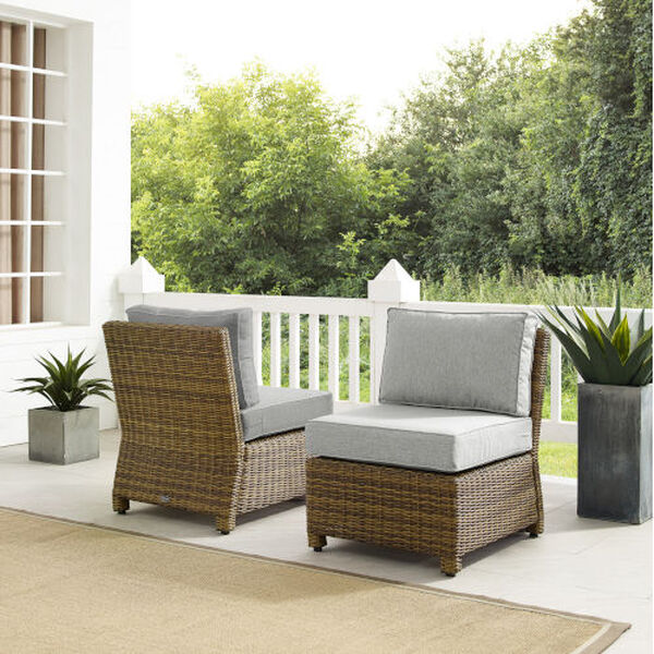 Bradenton Gray Weathered Brown Two-Piece Outdoor Wicker Chair Set, image 2
