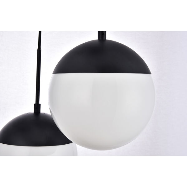 Eclipse Black and Frosted White 18-Inch Three-Light Pendant, image 4