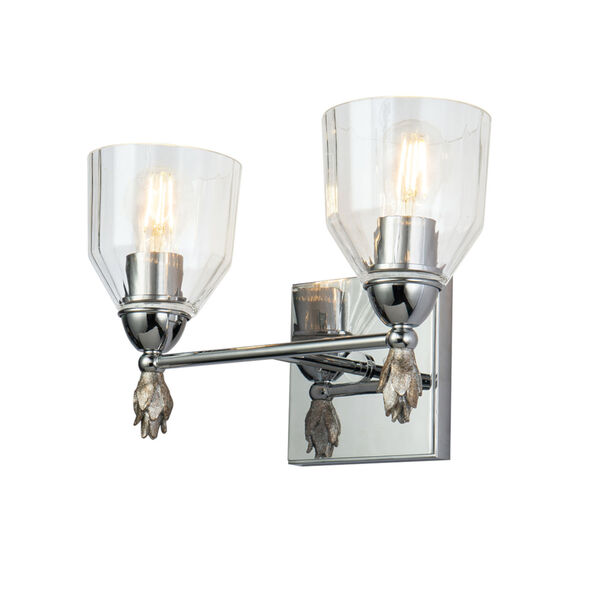Fun Finial Polished Chrome Silver Two-Light Wall Sconce, image 1