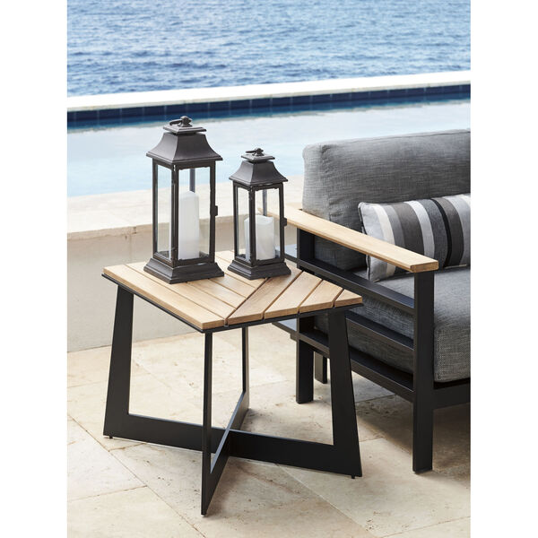 South Beach Dark Graphite and Light Brown Square End Table, image 2