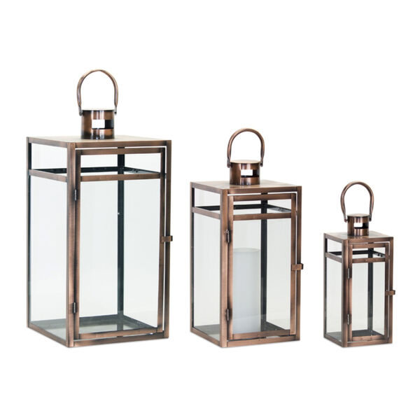 Copper and Black 10-Inch Lantern, Set of 3, image 1