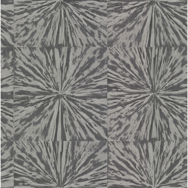 Antonina Vella Elegant Earth Charcoal Squareburst Geometric Wallpaper, image 2
