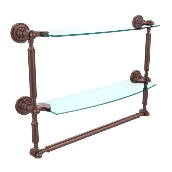 Antique Copper Double Shelf with Towel Bar, image 1