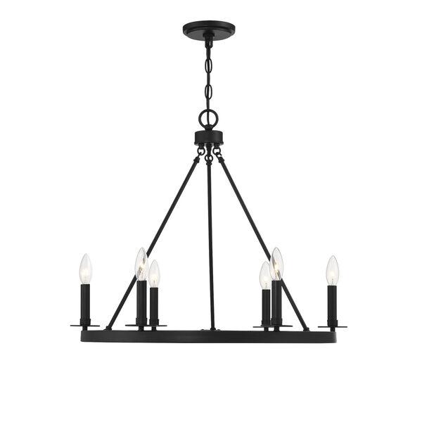 Linden Matte Black Six-Light Chandelier, image 1
