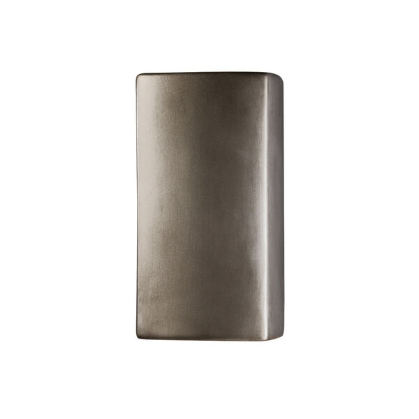 Ambiance Antique Silver Five-Inch ADA Closed Top GU24 LED Rectangle Outdoor Wall Sconce, image 1
