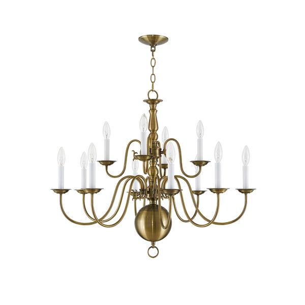 Williamsburgh Antique Brass 12 Light Chandelier, image 4