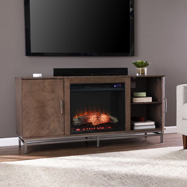 Dibbonly Brown and matte silver Electric Fireplace with Media Storage, image 1