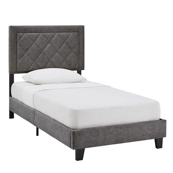 Lydia Gray and Black Twin Velvet Platform Bed, image 1