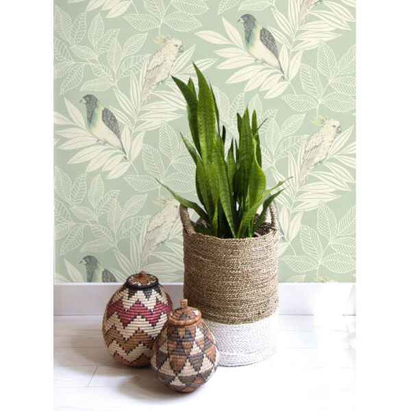 Boho Rhapsody Mint and Ivory Paradise Island Birds Unpasted Wallpaper, image 1