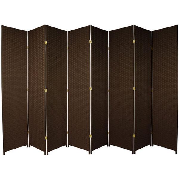 Seven Ft. Tall Woven Fiber Room Divider Dark Mocha Eight Panel, Width - 158 Inches, image 1