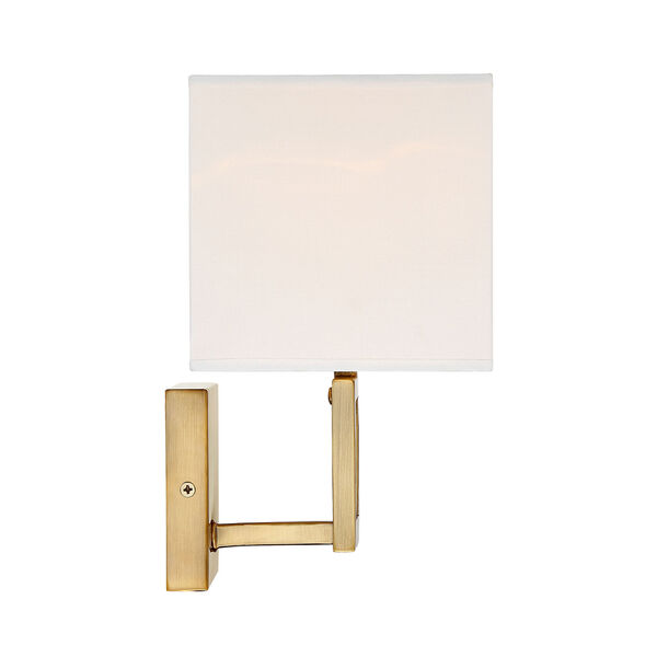 Uptown Natural Brass One-Light Wall Sconce with Square White Fabric Shade, image 3