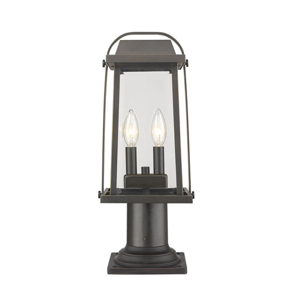 Millworks Oil Rubbed Bronze Two-Light Outdoor Pier Mounted Fixture With Transparent Beveled Glass, image 1