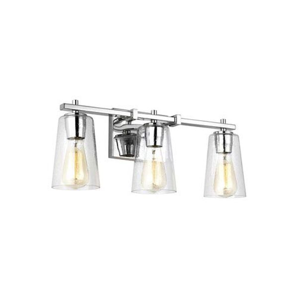 Medows Chrome 22-Inch Three-Light Bath Light, image 1