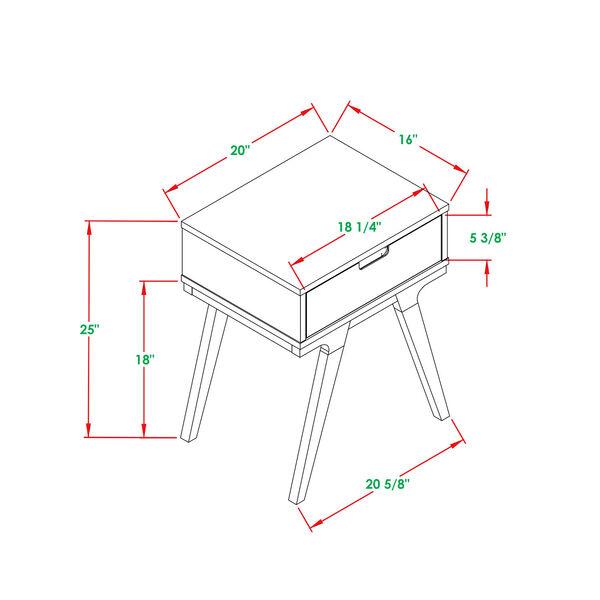 Mateo White and Caramel Beidge-Leg Side Table, Set of Two, image 4