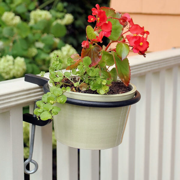Black Powdercoat 6-Inch Clamp-on Flower Pot Ring, Set of Two, image 5