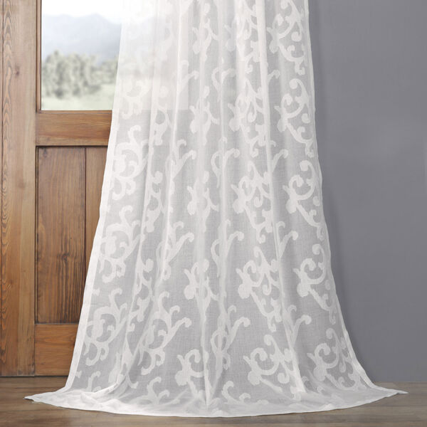 White Scroll Patterned Faux Linen Sheer 84 x 50 In. Curtain Single Panel, image 4