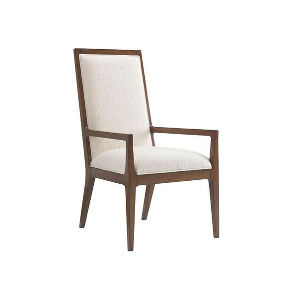 Island Fusion Brown and White Natori Slat Back Arm Chair, image 1