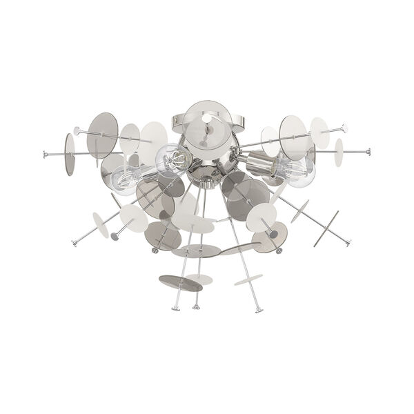 Circulo Polished Chrome 24-Inch Four-Light Ceiling Mount with Chrome Discs and Glass Discs, image 2