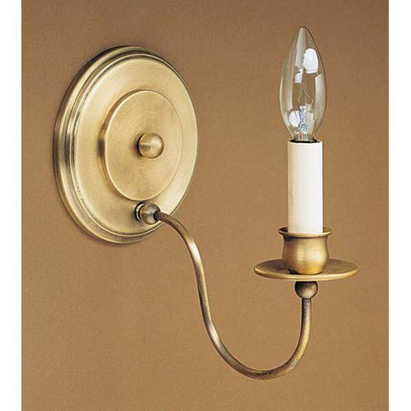 Graceful Antique Brass Single-Arm Candelabra Sconce, image 1
