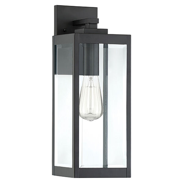 Pax Black 17-Inch One-Light Outdoor Wall Lantern with Beveled Glass, image 2