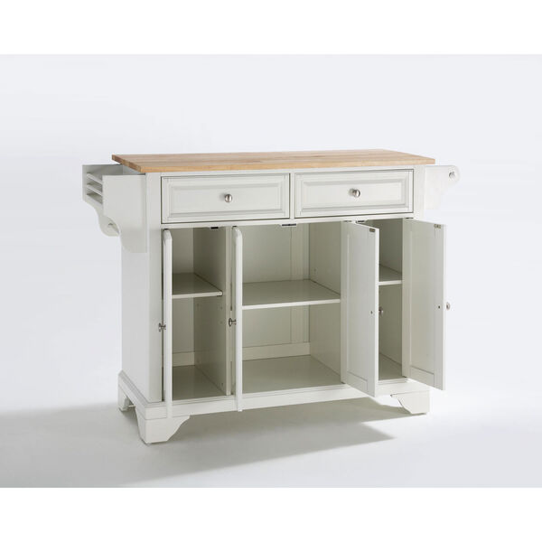 LaFayette Natural Wood Top Kitchen Island in White Finish, image 2