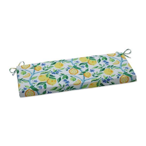 Lemon Yellow Blue Green Bench Cushion, image 1