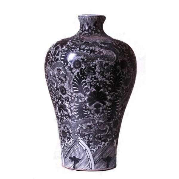 Black White Dragon Meiping Vase, image 1