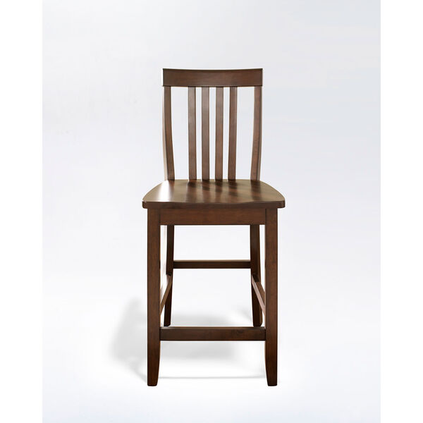 School House Bar Stool in Vintage Mahogany Finish with 24 Inch Seat Height- Set of Two, image 2