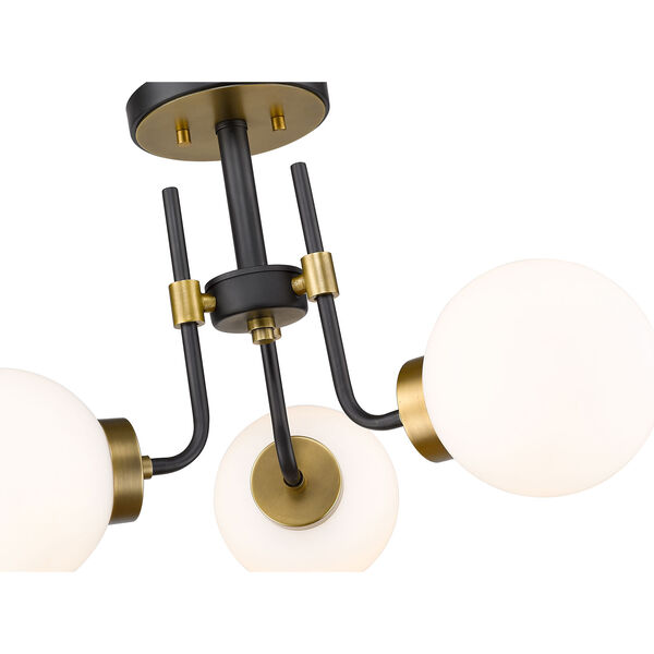 Parsons Matte Black and Olde Brass Three-Light Semi Flush Mount, image 6