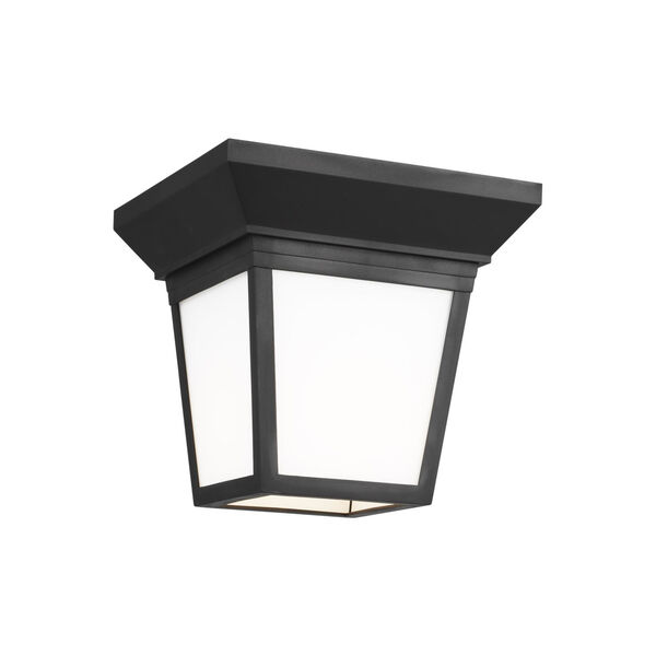 Lavon Black One-Light Outdoor Flush Mount with Smooth White Shade Energy Star, image 2