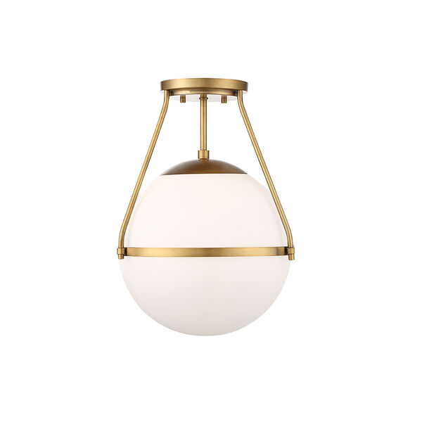 Nicollet Natural Brass One-Light Semi Flush Mount with White Opal Glass, image 1