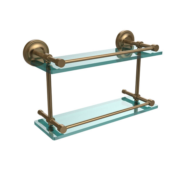 Prestige Regal 16 Inch Double Glass Shelf with Gallery Rail, Brushed Bronze, image 1