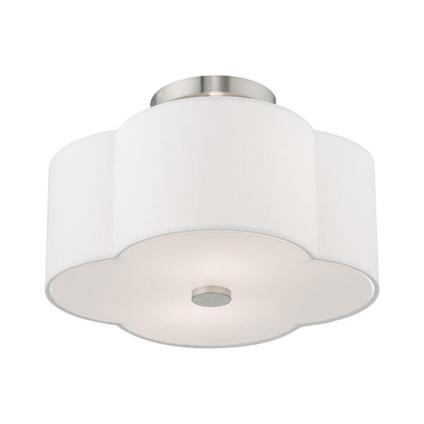 Chelsea Brushed Nickel 13-Inch Two-Light Ceiling Mount with Hand Crafted Off-White Hardback Shade, image 4