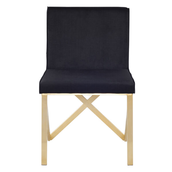 Talbot Black and Brushed Gold Dining Chair, image 6