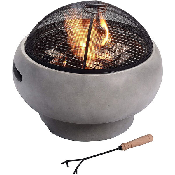 Light Grey Outdoor 21-Inch Round Concrete Wood Burning Fire Pit, image 1